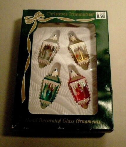Bradford Christmas Trimmers Hand Decorated Glass Ornaments Lanterns