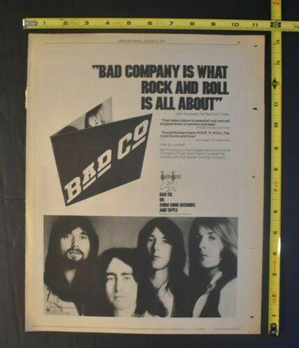 Bad Company Vintage 1974 Album Ad Self Titled Atlantic Records Swan Song