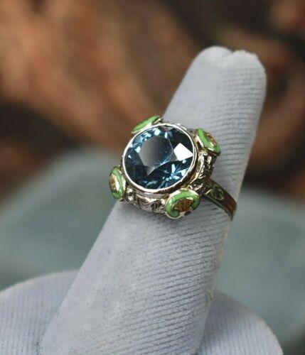 Antique Art Deco 14K white gold filigree green enamel 11.7 ct blue topaz ring s6