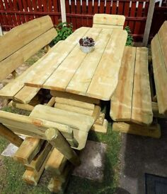 Last set! Brand new handmade solid wood garden furniture