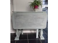 vintage drop leaf table hand painted in duck egg blue