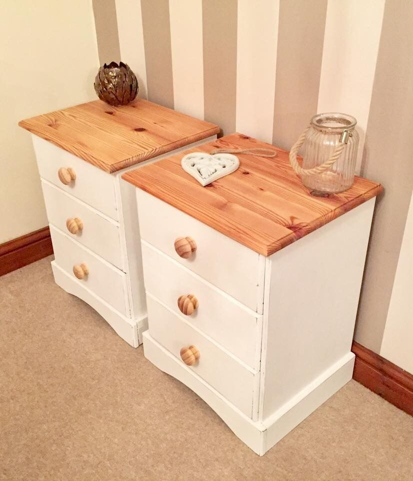 Newly Refurbished Shabby Chic Pine Bedside Tables***£89***FREE DELIVERY