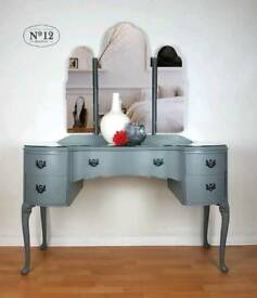 Dressing Table with Triple Mirror grey bedroom furniture