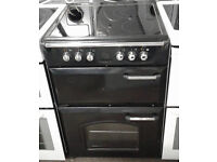 p825 black leisure gourmet 60cm double oven ceramic hob electric cooker comes with warranty
