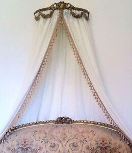 Antique Ornate Ciel Ceil De Lit Gold Bed French Crown Double Frame Canopy Gilt