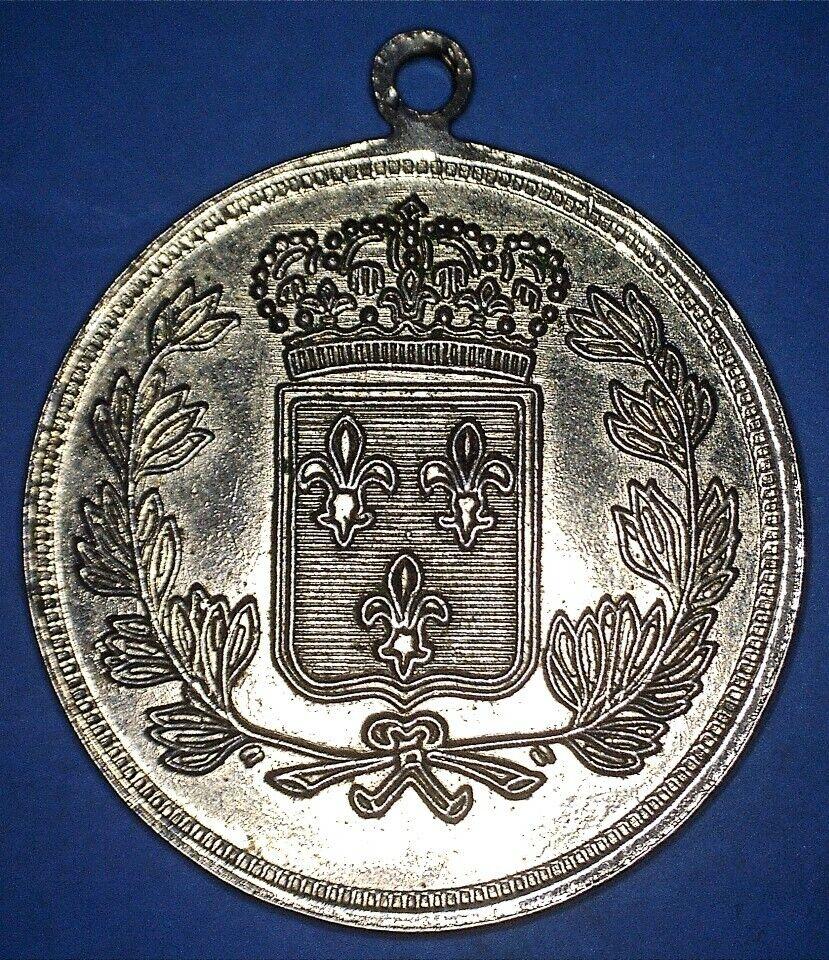 UNDATED REPUBLIQUE FRANCAISE MEDAL - CROWNED SHIELD W/ FLEURS DE LIS - 14746877 - $8.00