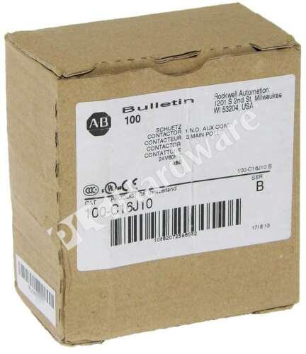 New Allen Bradley 100-C16J10 /B MCS-C Contactor IEC 16A 24VAC 60Hz Coil