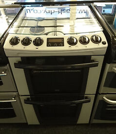 l132 silver zanussi 55cm double oven gas cooker comes with warranty can be delivered or collected