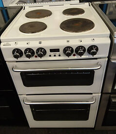 j145 white newworld 55cm solid ring double oven electric cooker comes with warranty can be delivered