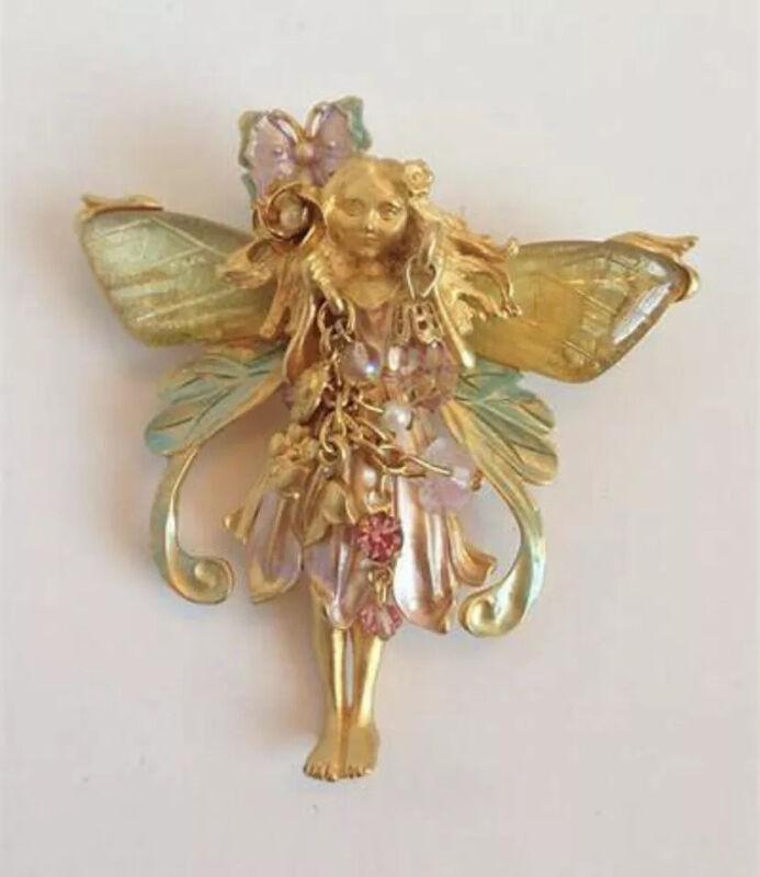 Kirks Folly Primrose Fairy Vintage Gold Tone Brooch Pendant Enamel Metal Crystal