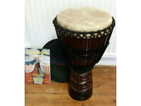 World Rhythm Percussion Djembe, drum hat/cover and The Djembe Guide