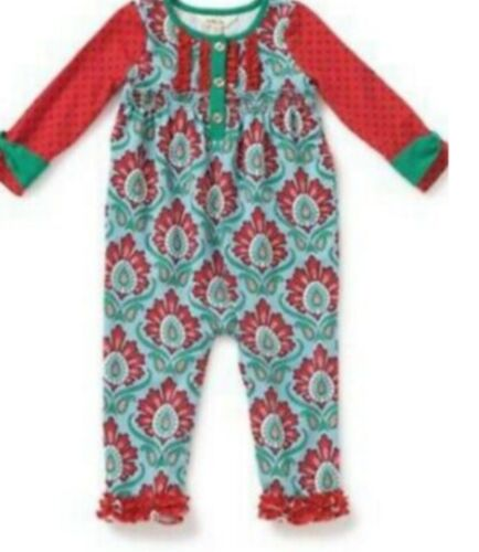 Matilda Jane BETTER NOT POUT Romper 3/6 month Damask One-Piece Holiday NWt