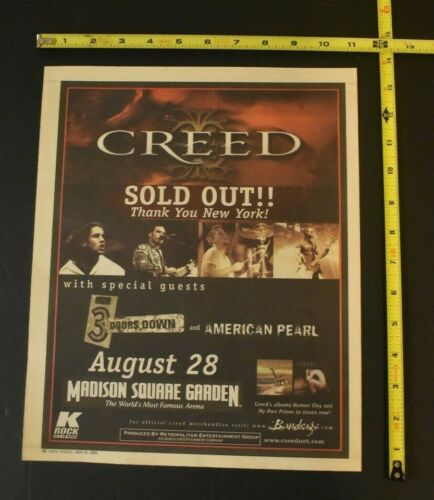 Creed 2000 Color Concert Ad MSG NYC 3 Doors Down