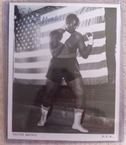 RARE-Buster-Mathis-died-95-signed-8x10-B-W-photo-Boxing-Muhammad-Ali-Opponent