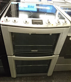 F139 stainless steel electrolux 60cm double oven ceramic hob electric cooker comes with warranty