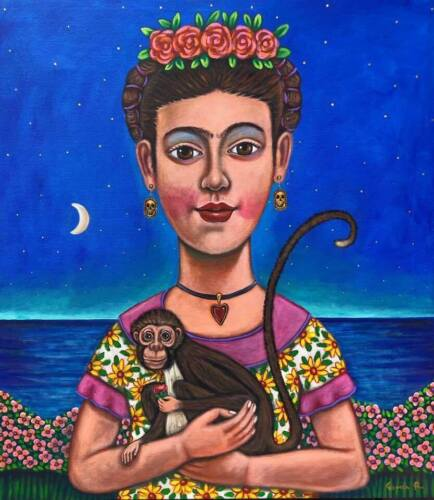 Beautiful painting by mexican artist  German Rubio, Frida Kahlo with monkey