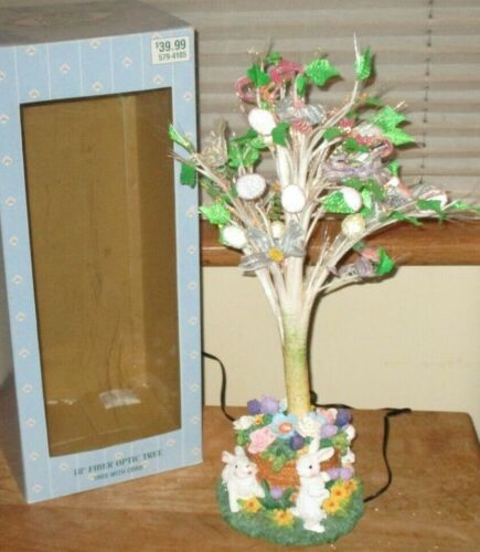 """Cottontale Collection 18"""" Fiber Optic Tree Easter Display Bunnies Eggs Flowers 2"""