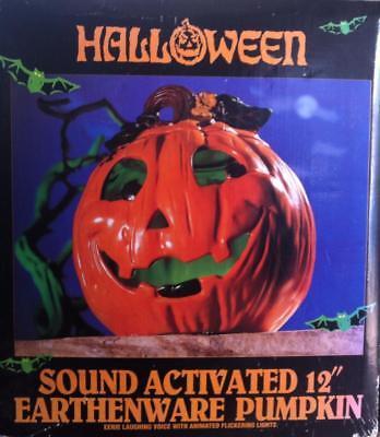 "Halloween sound activated light up 12"" Earthenware Pumpkin"