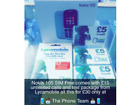 Nokia 105 Brand New Lyca Bundle £15 Unlimited Calls & Texts