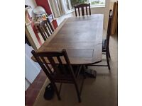 VINTAGE DINING TABLE AND CHAIRS / EXTENDABLE / CLASSIC DESIGN / RETRO / WOOD / INDUSTRIAL