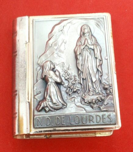 Our Lady of Lourdes Silver-Plated Bible-Shaped Rosary Box/Pill Box Made in Italy