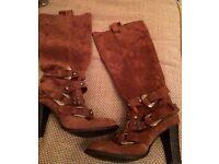 Bertie suede boots size 5 cowboy buckles