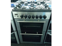 x155 stainless steel kenwood 60cm gas hob electric double oven dual fuel cooker comes with warranty