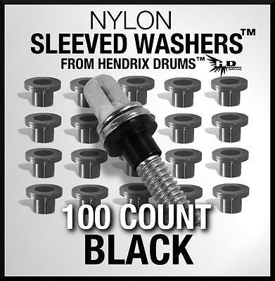 100 Black SLEEVED WASHERS from Hendrix Drums nylon tension rod hoop rim set kit