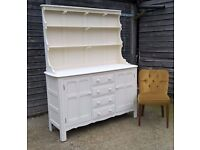 **FREE DELIVERY**Stunning Ercol Solid Elm Welsh Dresser in Cream Chalk ~ Shabby Chic (Sideboard oak)