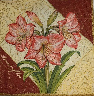 4 x Single Paper Napkins Amaryllis Pink Flowers for Decoupage and Crafting 13