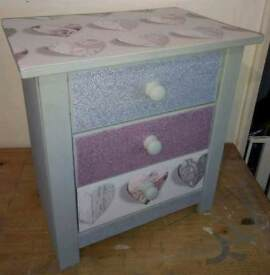 """3 DRAWER BEDSIDE PAINTED IN FRENCHIC """"SPITFIRE"""" & COVERED IN SILVER/PINK GLITTER & HEART DESIGN"""