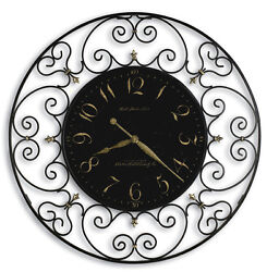 625-367   JOLINE- LARGE HOWARD MILLER GALLERY CLOCK- BLACK IRON
