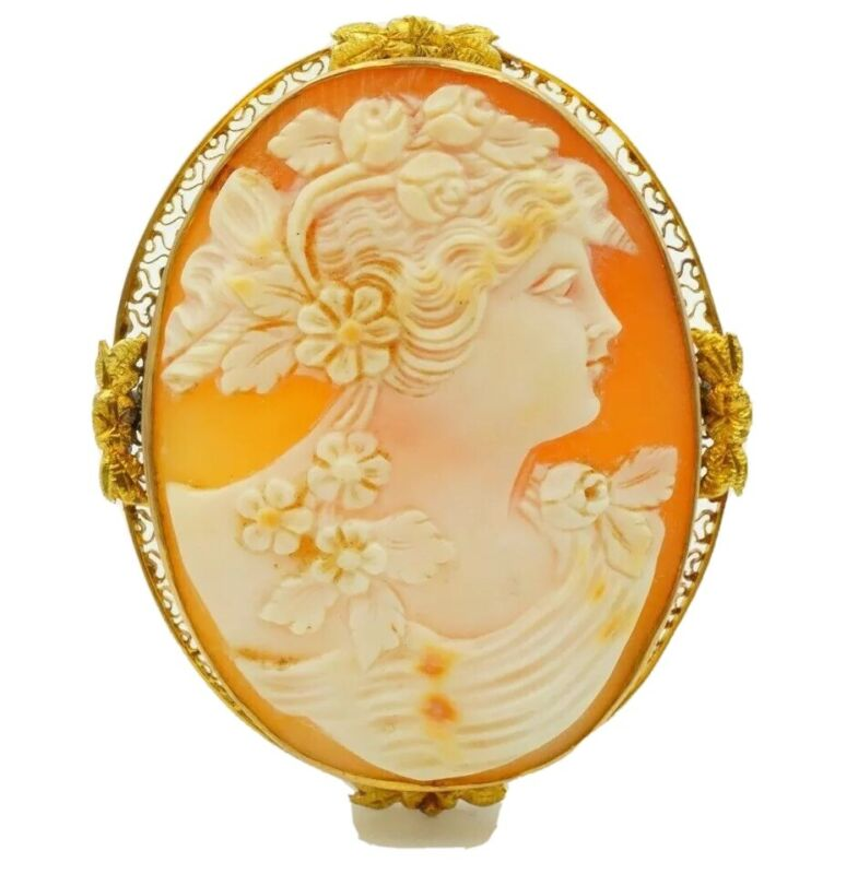 Antique 10k Yellow Gold Carved Shell Cameo Filigree Large Pin Brooch