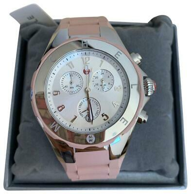 BRAND NEW! MICHELE Jelly Bean Tahitian Dusty Rose Pink Silver Watch MWW12F000089