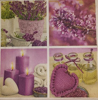 4 x Single Paper Napkins Purple Candles Heart Flowers Decoupage and Crafting 11