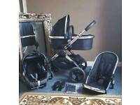 Icandy peach 2016 black magic 2 pushchair with carrycot and maxi cosi car seat