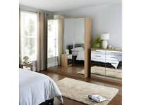 Cologne Mirror 5-Door, 2-Drawer Wardrobe & Cologne Mirror 5 + 5 Graduated Chest of Drawers - NEW OAK