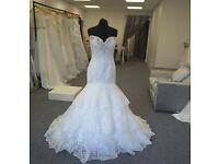 Brand new wedding Dress, 3 tiered lace dress beaded neckline and lace up back