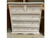Upcycled pine chest of drawers shabby chic Frenchic with crystal knobs