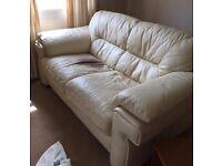 Old Cream Leather Sofa