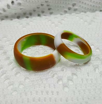 Green White Lte Brown / Orange Camo Silicone Wedding Ring Rubber Sport Band 6-14](Orange Camo Wedding Rings)
