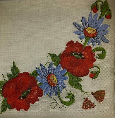 4 x Single Paper Napkins Embroidered Flowers for Decoupage and Crafting 24