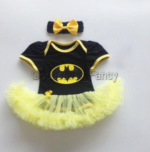 US Stock Newborn Baby Girl Batman Romper Bodysuit Tutu Dress
