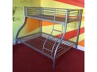 Silver Bunk Bed Double bottom, Single top