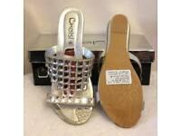 silver diamante flop sandals