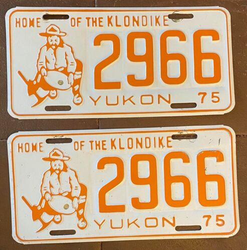 Yukon 1975 HOME of the KLONDIKE MINER License Plate PAIR - NICE QUALITY # 2966