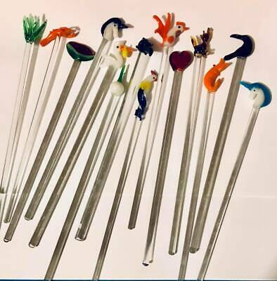 Lot of 18 Vintage Set Glass Swizzle Sticks Stir Cocktail Stirrers Blown - Cocktail Stir Sticks