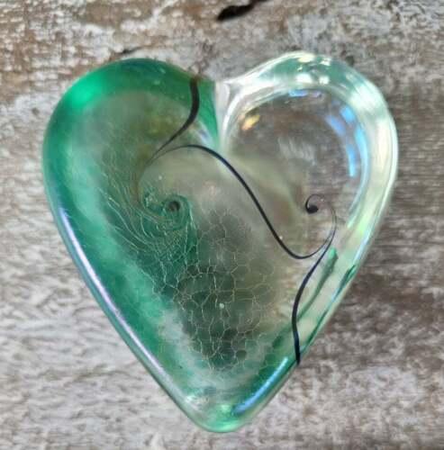Vtg Early Robert Held Art Crackly Iridescent Swirl Art Glass Heart Paperweight