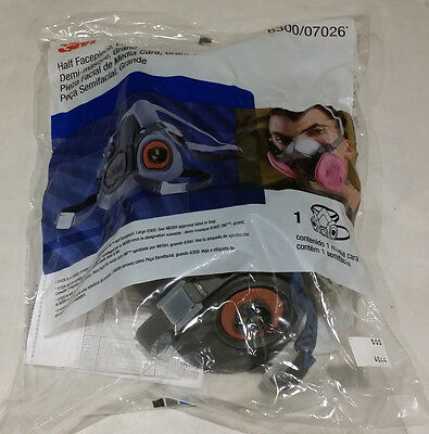 3M HALF FACEPIECE MASK LARGE REUSABLE RESPIRATOR 6300/07026 NEW FREE SHIPPING
