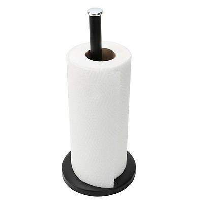 Black Metal Kitchen ROLL HOLDER Paper Towel Stand Pole Tidy